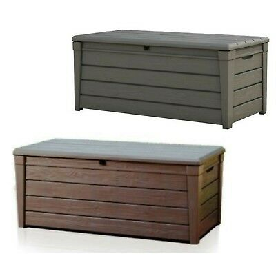 Large storage box outdoor timber-look resin deck patio porch verandah -2 colours