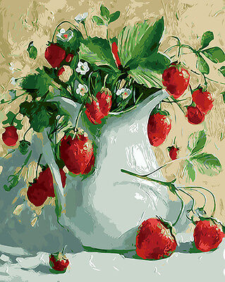 """New DIY Paint By Number 16*20"""" kit Oil Painting On Canvas Strawberry Plants 993"""