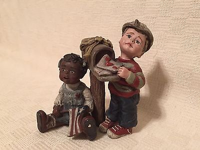 """Sarah's Attic """"Forever In Our Hearts"""" 1990 Figurine, African American & White"""