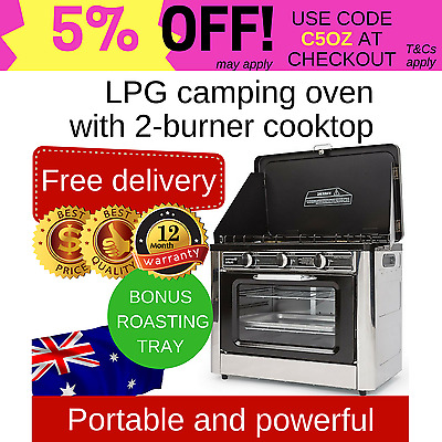 Camping oven and stove 2 burners LPG gas portable powerful stainless steel AGA