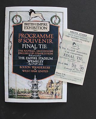 1923 FA Cup Final Bolton Wanderers Vs West Ham United Programme Ticket