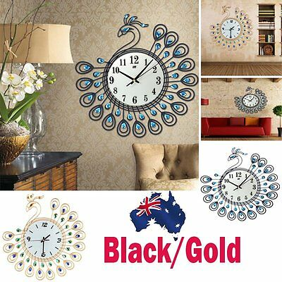 Luxury Peacock Rhinestone Wall Clock Home Decoration Art Digital Modern Style AU