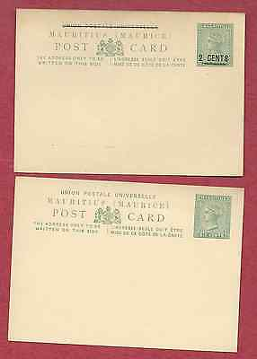 Mauritius Qv 1879-85 Two Postal Cards H&g 3 & 7 Mint Vg Condition Free Shipping
