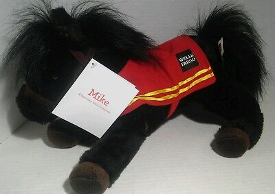 """Wells Fargo Legendary 13"""" Mike Plush Black Horse Brown Red Saddle With Tags!"""