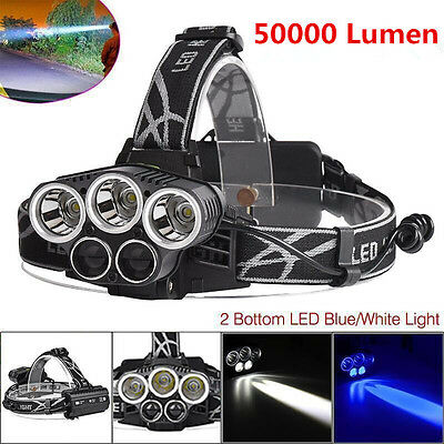 30000LM 3x XM-L T6 +2x XPE LED 18650 Rechargeable Headlamp Headlight + USB Cable