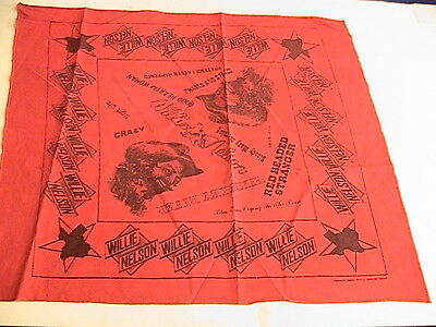 "Willie Nelson ""willie Nelson"" Red W/ Black Lettering  Bandanna, 20"" Square New"
