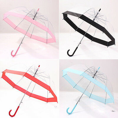 Kids Girls Pink Purple Transparent Bubble Dome Umbrella Brolly School Travel