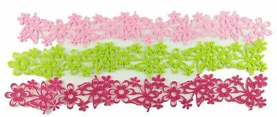 Felt flower bands 3,5cm x 154cm pink green pink 3 Stück Decorative ribbon