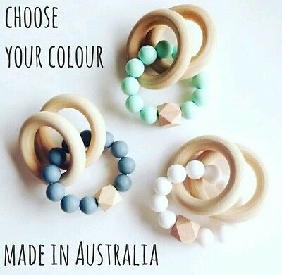 Silicone beads teether teething toy sensory baby chew dummy natural wooden ring