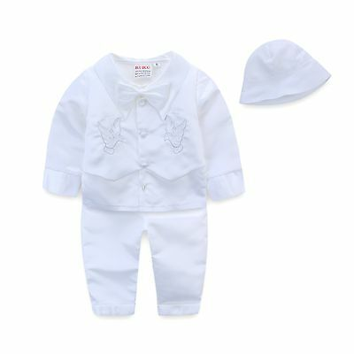 4PCS NEW Baby White Satin Baptism/Christening Romper jumpsuit + Hat sz 0