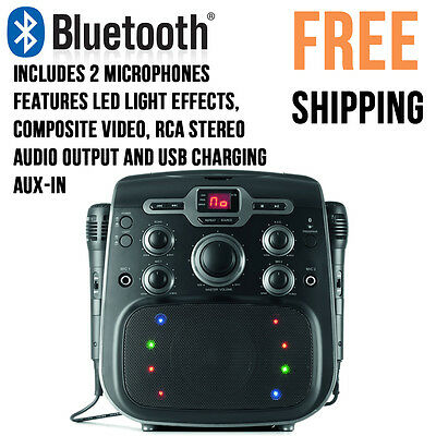CD+G Karaoke Party Machine Bluetooth CD Player Disco Light LED  2 Microphones