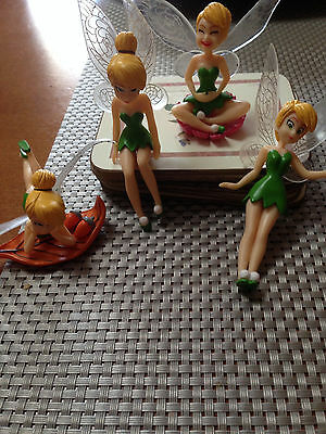 1 SET OF 4 Tinkerbell Fairy Figurines Ornament cake Topper or garden FREE POST