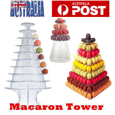 4/9/10 Tiers Macaron Tower Stand Macaroon Wedding Cake Stand Clear 3 Size