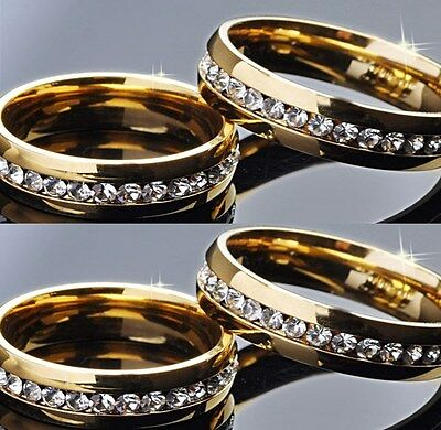 30pcs Gold Zircon Stainless Steel Wedding CZ Rings Wholesale Fashion Jewelry