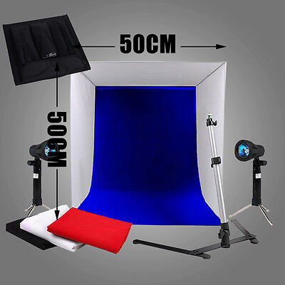 Photography 50cm Cube Soft Box Light Tent Studio Softbox Lighting Backdrops Set