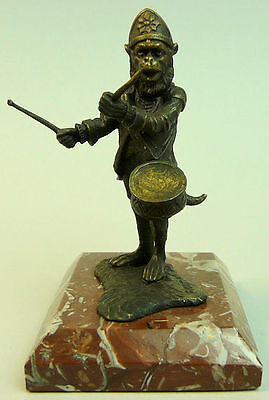 A Finely Modelled Bronze Monkey Musician Figure By Fratin