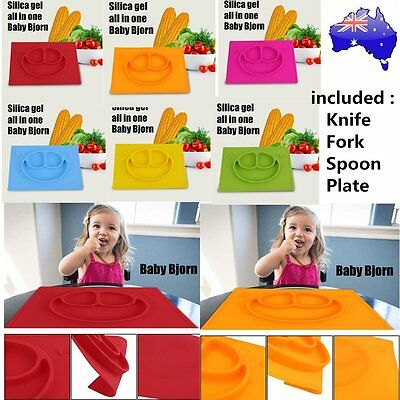 Silicone Smile Face Divided Plate Dish for Kids Toddler Divided Plates LN