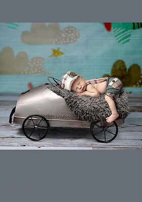 Gray Creative Photography Prop Metal Car Carriage Basket for Newborn Baby Photo