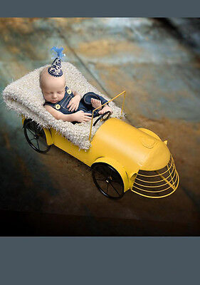 Yellow Creative Photography Prop Car Carriage Basket for Newborn Baby Photo