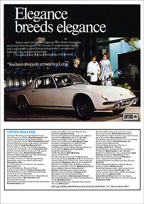 Lotus Elan Plus 2 Retro A3 Poster Print From Classic 70's Advert 1970