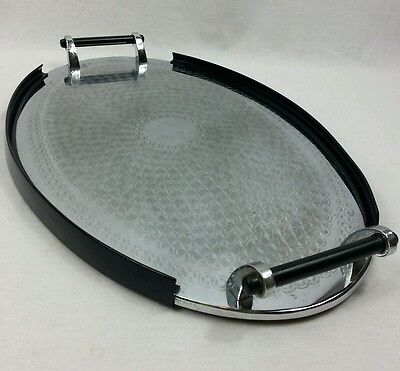 Vintage Art Deco Drinks Tray Oval Serving Stainless Steel Chrome Black Handles