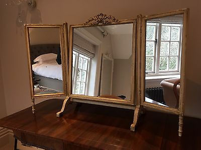 Edwardian Distressed and Parcel Gilt Triple Table Top Dressing Mirror