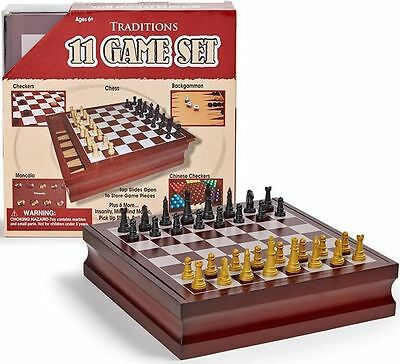 Wooden Chess Game Board Set 11-in-1 Checkers Backgammon Classic Family Games NEW