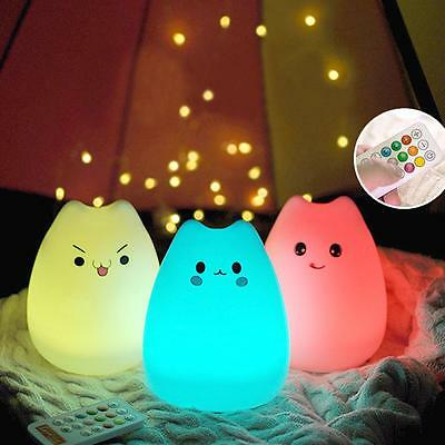 Night Light Cat Cute Animal Kids Bedroom LED Lamp Automatic Changing 7 Colors