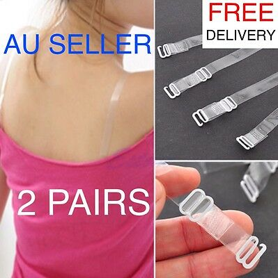 2 PAIRS Clear Invisible Transparent Adjustable Metal Buckle Plastic Bra Straps