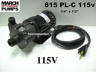 March pump  815 PL-C  115v  with base 6' cord & plug  home brewing   HF 809