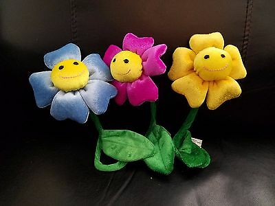 Set of 3 Posable Smiley Face Flowers stuffed/plush - 7""