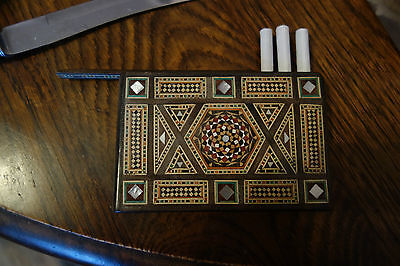 Vintage Mosaic Cigarette Or Sheroot Case With Sliding Panel - Marquetry - Treen