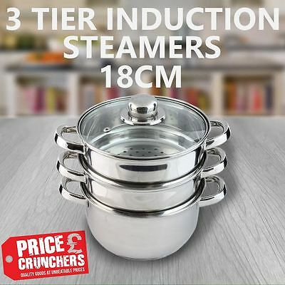 INDUCTION 3 Tier Steamer Pot Pan Steel Cooker Food Baby Healthy Cooking 18 cm