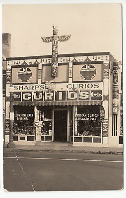 RPPC - West Yellowstone, MT - Indian Curio Shop - 1940s era
