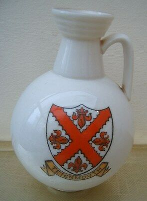 Large W H Goss Crested Model of Roman Ewer. Dual Teignmouth and Devon Crests.