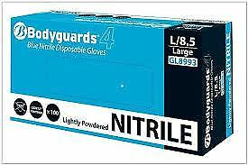 Box of 100 Bodyguard 4 Blue Nitrile Lightly Powdered Disposable Gloves