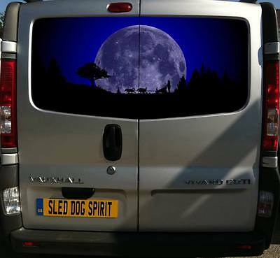 150Cm Print Van Decal Sticker Sled Dog Spirit Siberian Husky Rig Moon Huskies
