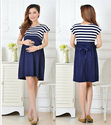 Stripe Women Long Maternity Dresses Pregnant Mother Loose Clothing Cotton L/XL