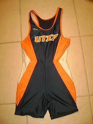 UTEP MINERS S Tousse speed suit track and field wrestling singlet college gay TX