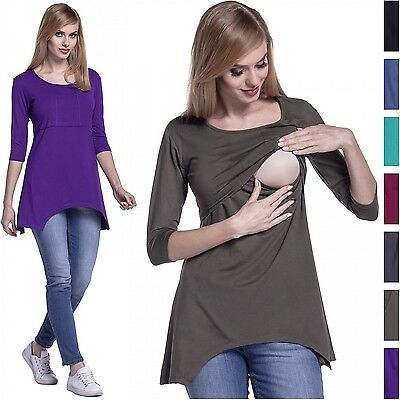 Happy Mama. Women's Maternity Nursing Asymmetric Layered Top Round Neck. 433p