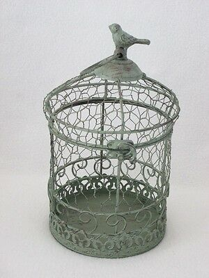 Wire Circular Container w Bird Trim-Antique Patina-Unique