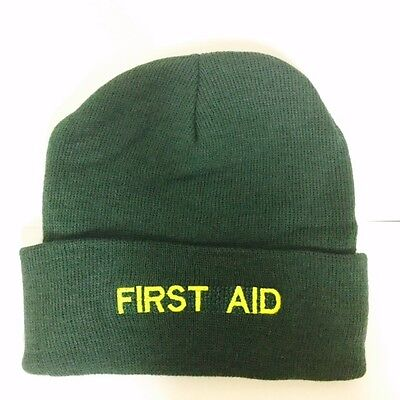 First Aid Green Woolly Hat - Ambulance Paramedic St Johns Medic First Responder