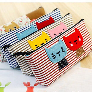 Girls Cute Animal Kitten Cat Canvas Pencil Case Cosmetic Make Up Bag Pen Pouch