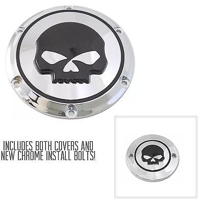 HARLEY Chrome With Black Skull Derby And Timer Covers XL Sportster 04+