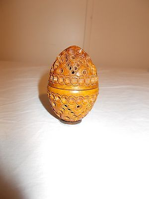 ANTIQUE Finely Carved COQUILLA NUT Thimble Case WOOD EGG shape 1800s VICTORIAN