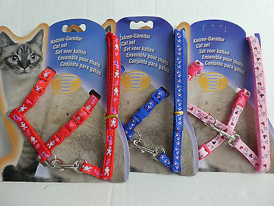 Cat Kitten Adjustable Harness & Lead Set Various Colours and Patterns