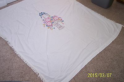 Antique White Bedspread Hand Embroidered  Very Nice Work