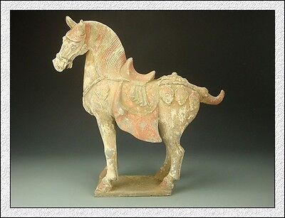 Ancient Chinese Majestic Collectable Big Terracot Colored Pottery Aga War Horse