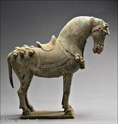Ancient Chinese Rare Great BeiWei Period Colored Pottery Aga War Horse Statue