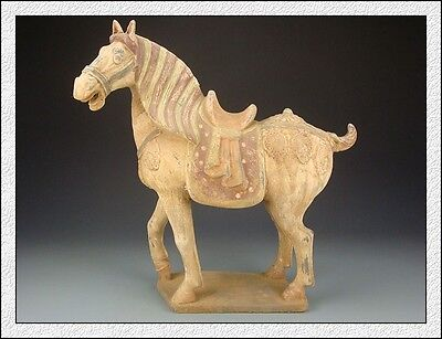 Ancient Chinese Rare Collectable Antiques Colored Pottery Aga War Horse Statue